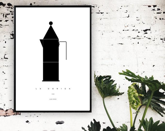 Stampa con caffettiera La Conica di Aldo Rossi. Stampa poster design moderno.