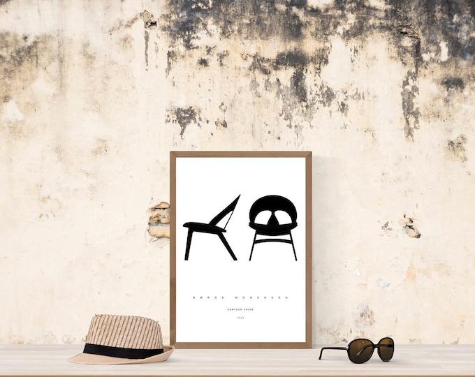 Stampa con Contour Chair di Børge Mogensen. Home decor. Stampa tipografica. Regalo di laurea.