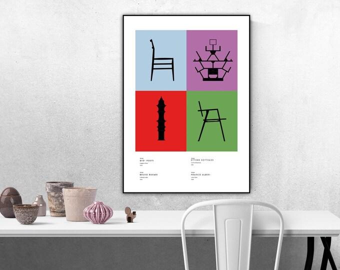 Stampa collage con icone del design italiano. Poster design made in italy. Stampa tipografica.