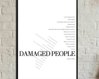 Damaged People Poster. Depeche Mode Printing. Scandinavian-style printing. Nordic style. Gift for him. Gift for you. Décor.