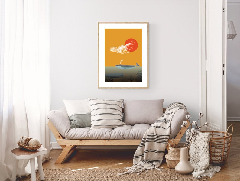 Typographic printing Decorative wall print Sea Print with illustration Illustration with whales Yellow and blue. Home decor
