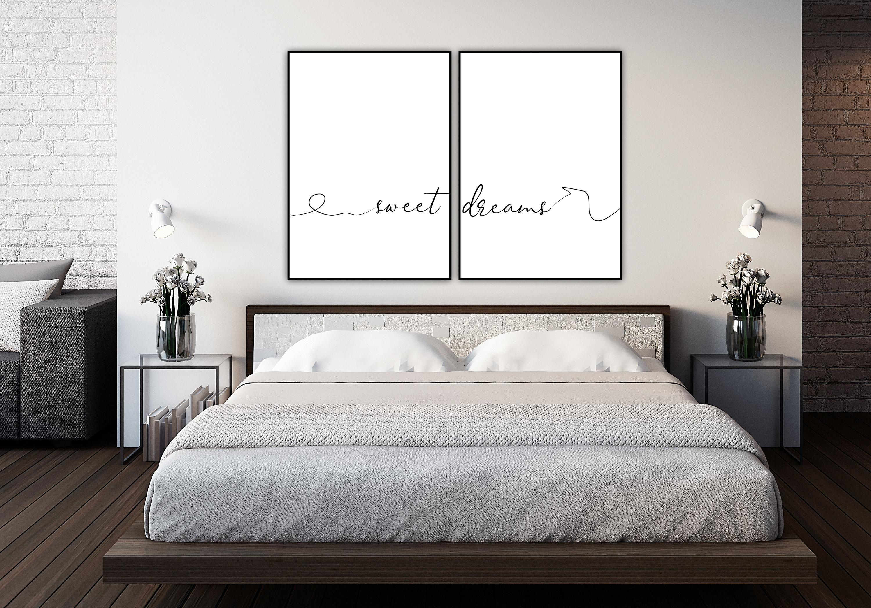Decorazioni Camera Da Letto stampa dittico: sweet dreams. stampa tipografica. stampa