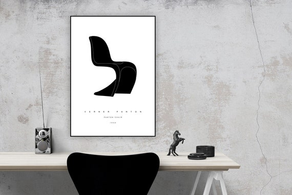 Print With Panton Chair By Verner Panton. Modern Design. Printing  Typographic. Scandinavian Style. Gift For An Architect Print Décor.
