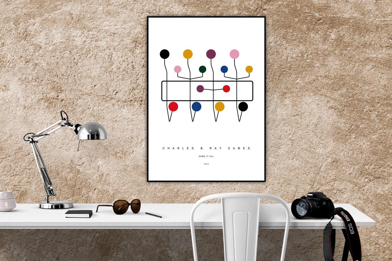 Appendiabiti Di Design Moderno.Stampa Con Icona Del Design Appendiabiti Di Charles Ray Eames