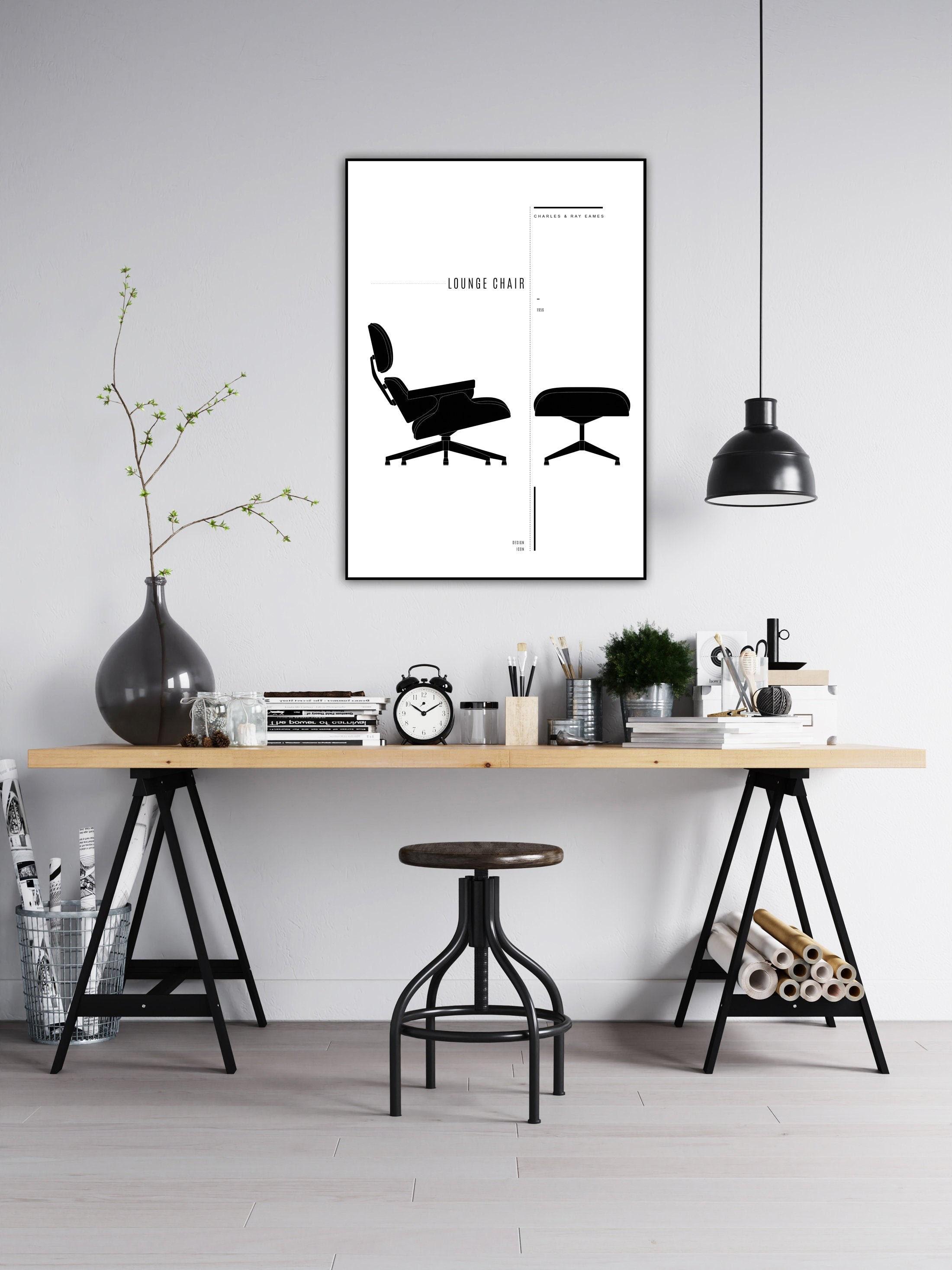 Design Scandinavo Anni 50 lounge chair di charles & ray eames. stampa design anni 50