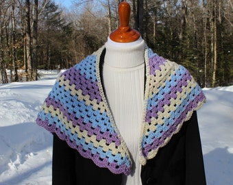 Crochet Shawl, Tri Color Shawlette, Triangle Shawl, Crochet Wrap, Women's Shawl