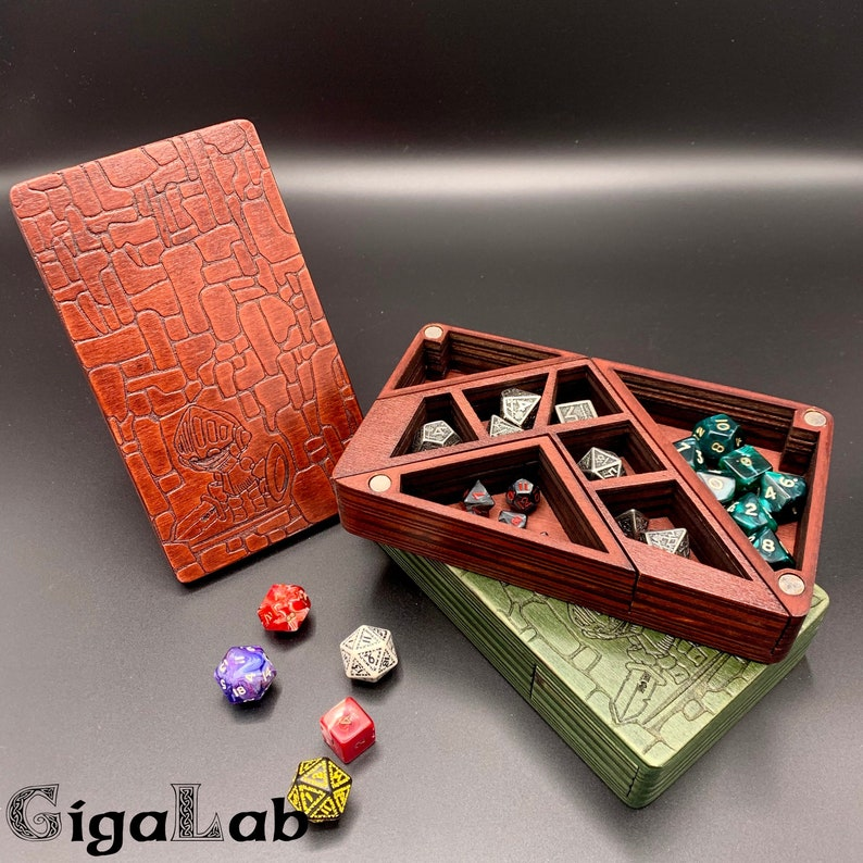 Wooden Dice Box  Dice Tower DND  2 in 1  Dice Organizer image 0