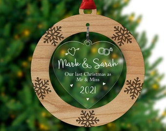 Our Last Christmas as Mr and Miss - Personalised Engaged Couple Christmas Decoration - Gifts for Fiance - Christmas Engagement With Red Bag