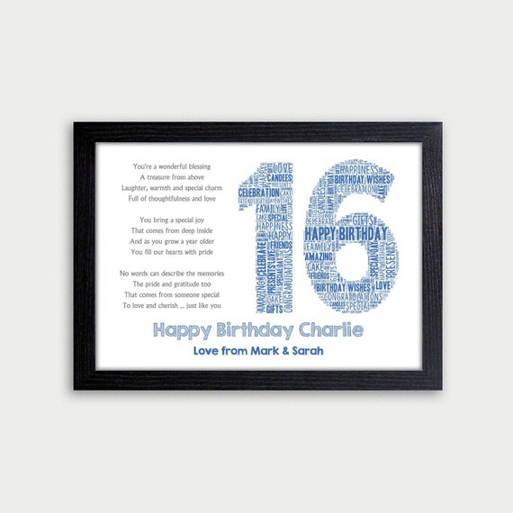 Personalised Birthday 30th Gifts For Him Dad Word Art Name Card Number 30th 40th