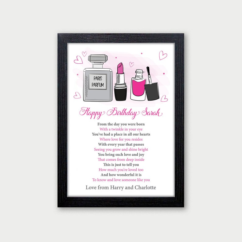 Daughter, Sister, Best Friend, Granddaughter Birthday Gifts - Personalised  Make Up Poem Gifts for Her, Girls - 16th 18th 21st 30th Birthday