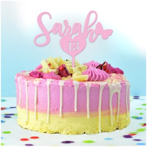 40 años Cake Topper cualquier edad en cualquier color Rosa Brillo Oro Personalizado personalizado