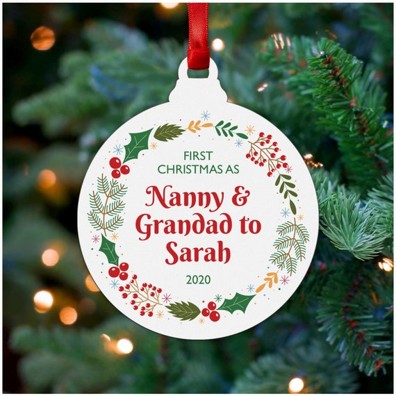 Printed Christmas Tree Gifts for Grandparents Nanny Nan Granny Grandad Grandpa Christmas Gifts for Grandparents Personalised First 1st Christmas As Nanny /& Grandad Christmas Tree Decoration