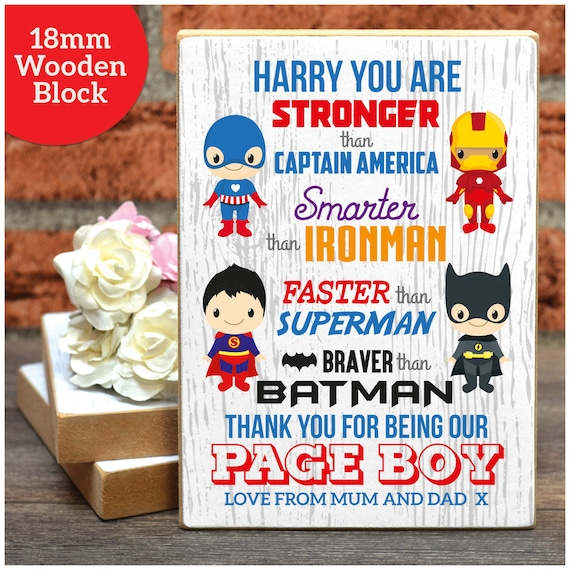 Page Boys Thank You Gifts Personalised Super Hero Page Boy Wedding Thank You