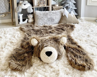 Regular size Cappuccino Grizzly Bear Rug |camping room, plush animal  |ClaraLoo