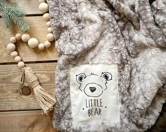 Minky Grey Fawn Blanket - Little Bear Blanket ClaraLoo