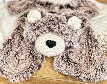 Bear Rug lovey - Brown/Beige Frosted Big Lovey - woodland nursery decor