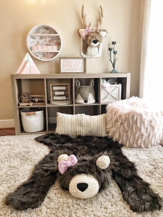 Bear Rug Nursery, Regular Brown Grizzly, Faux Bear Rug , woodland nursery,  Baby room decor