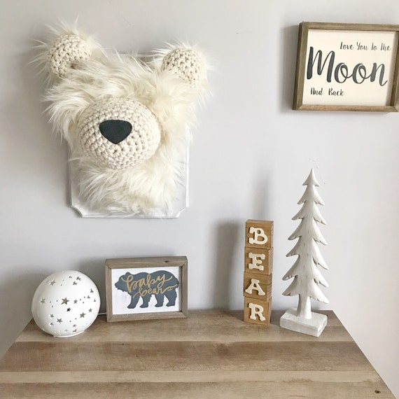 Plush Polar Bear Head Wall Mount Mountain Nursery Decor Etsy