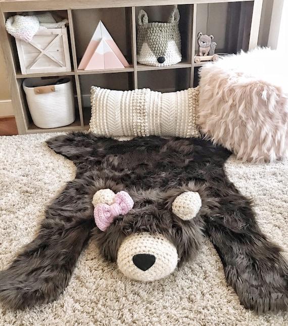 by JoJo/'s Bootique Girl Woodland Nursery Grizzly Bear Rug Baby Shower Gift Brown Bear Faux Fur Rug Woodland Nursery Decor