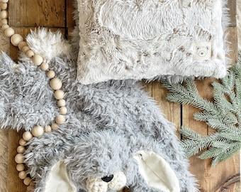 White Fawn Pillow - Grey Bunny Lovey - Nursery Pillow Decor