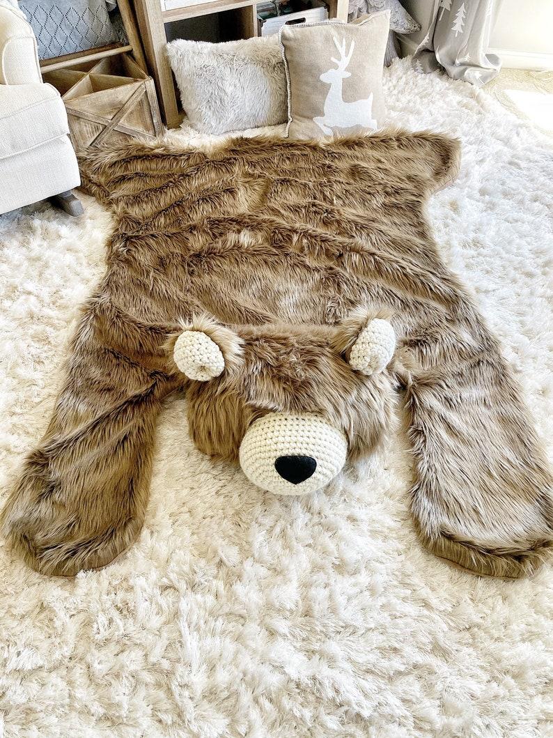 ClaraLoo Nursery Rug Extra Large Cappuccino Grizzly Bear Rug