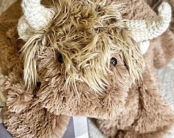 Highland Cow Plush Rug - ClaraLoo Nursery Decor