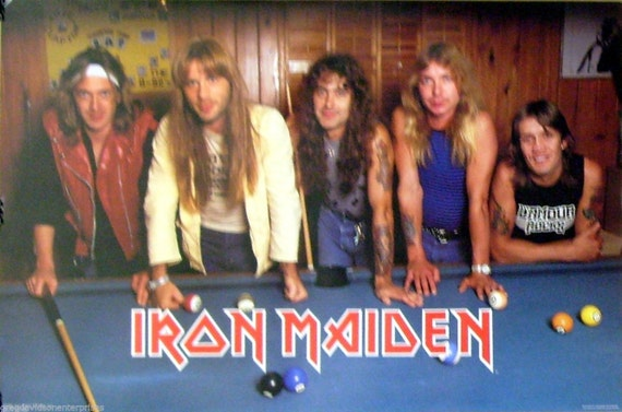 iron maiden 23x35 pool table billiards group poster 1984 etsy. Black Bedroom Furniture Sets. Home Design Ideas