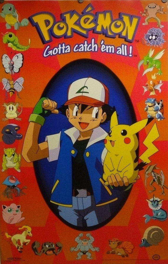 Pokemon 23 x 35 Ash y Pikachu rojo cartel Nintendo | Etsy