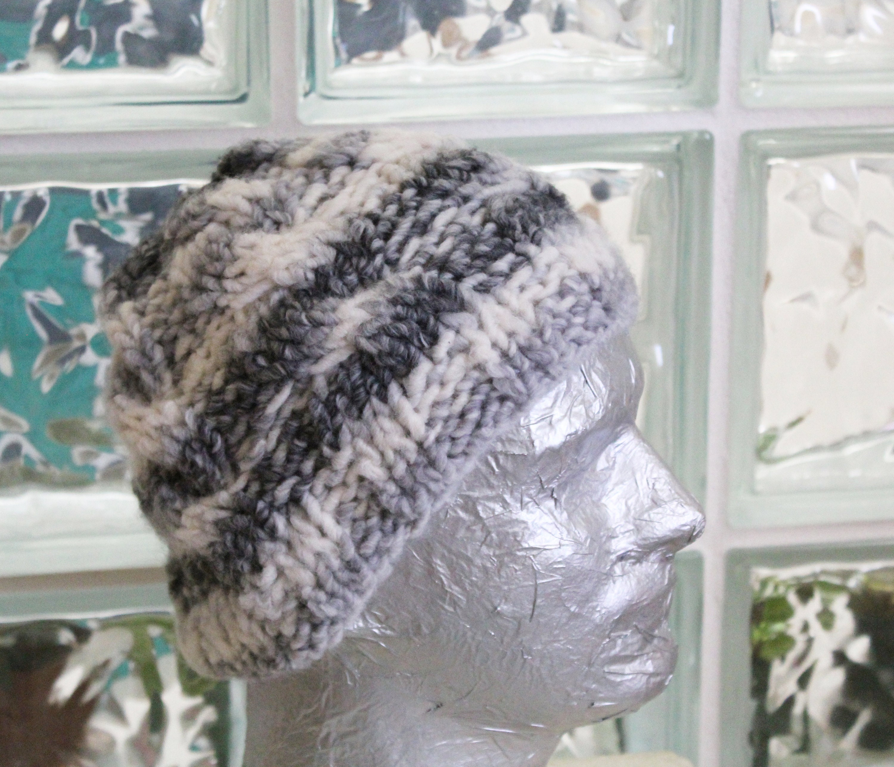 Knitted Wool Beanie Hat Grey   white Wool Toque  cedd488c2b8