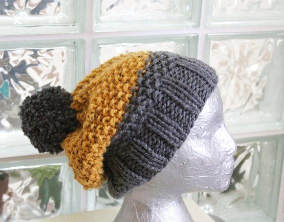 a0dd214111e Unisex Yellow Grey Gray Chunky Knit Hat Warm Acrylic Wool