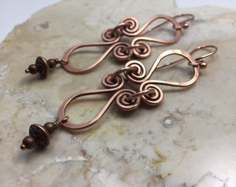 Copper Hand Forged Wire Earrings with Antique Patina
