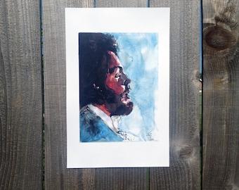Paul McCartney Watercolor and Ink Portrait