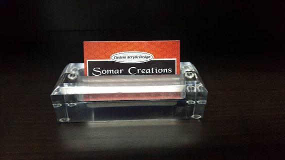 Rectangle acrylic desk business card holder lucite desk colourmoves