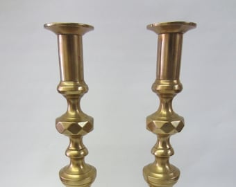 """Pair of Antique Diamond and Beehive 12"""" Solid Brass Candle Sticks"""