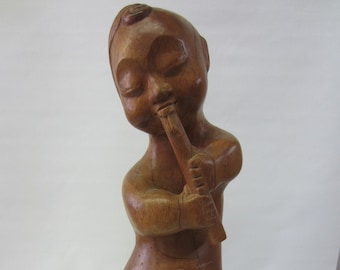 Vintage Hand Carved Teak Chinese Flute Player