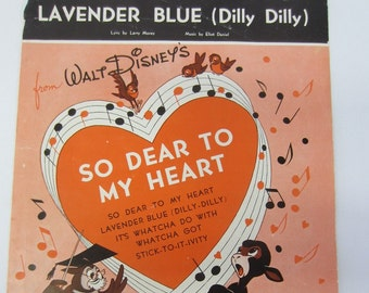 "Vintage 1948 ""Lavender Blue (Dilly Dilly)"" Walt Disney Sheet Music"