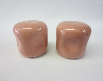 Vintage Russel Wright American Modern Salt and Pepper set in Coral Pink