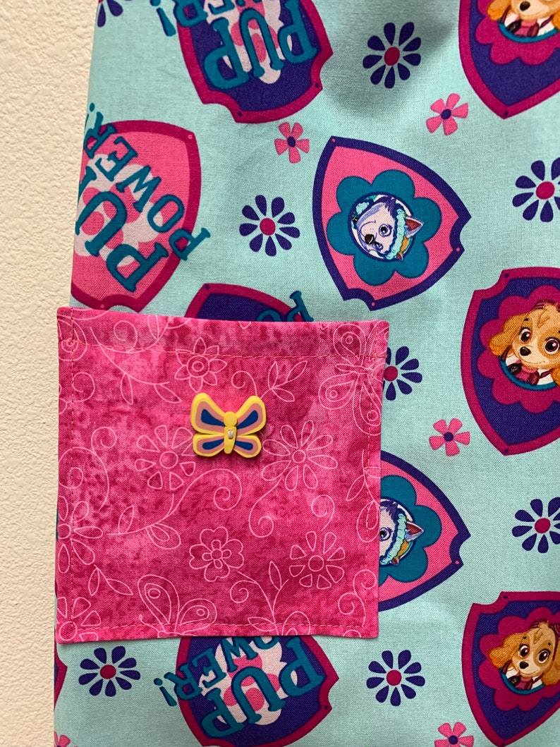 hats navy Girl/'s paw patrol apron goggles reversible Dots aqua Skye and Everest pink Hearts and flowers purple pocket lined