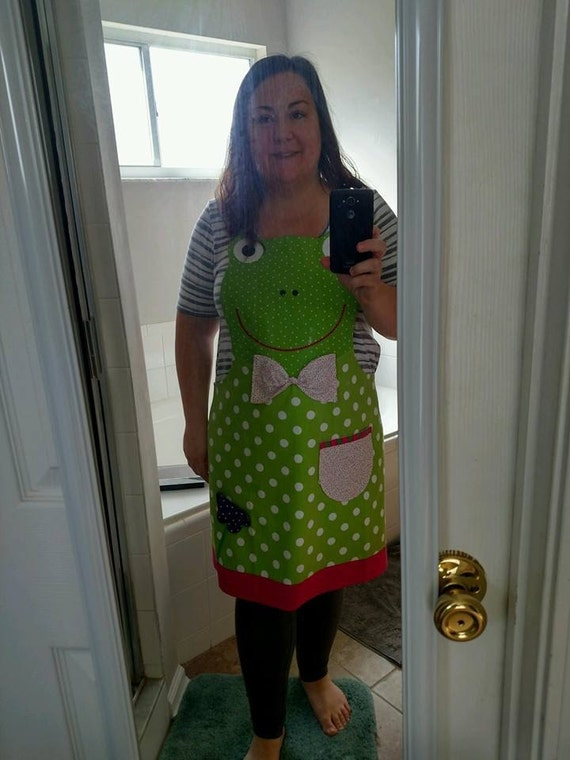 Frog Adult Apron Animal Face Green Dots Etsy