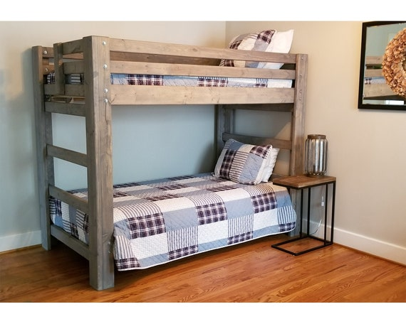 Twin Over Twin Bunk Bed - Unique Bedroom Bunk Bed Set Solid Wood Furniture