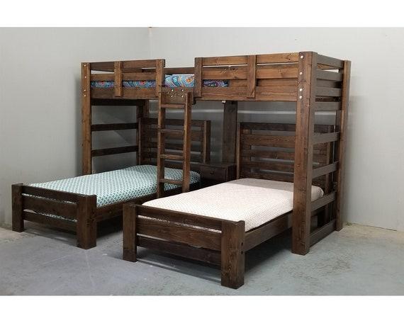 Triple Wall Bunk Bed Unique Bedroom Bunk Bed Set Solid Wood Etsy