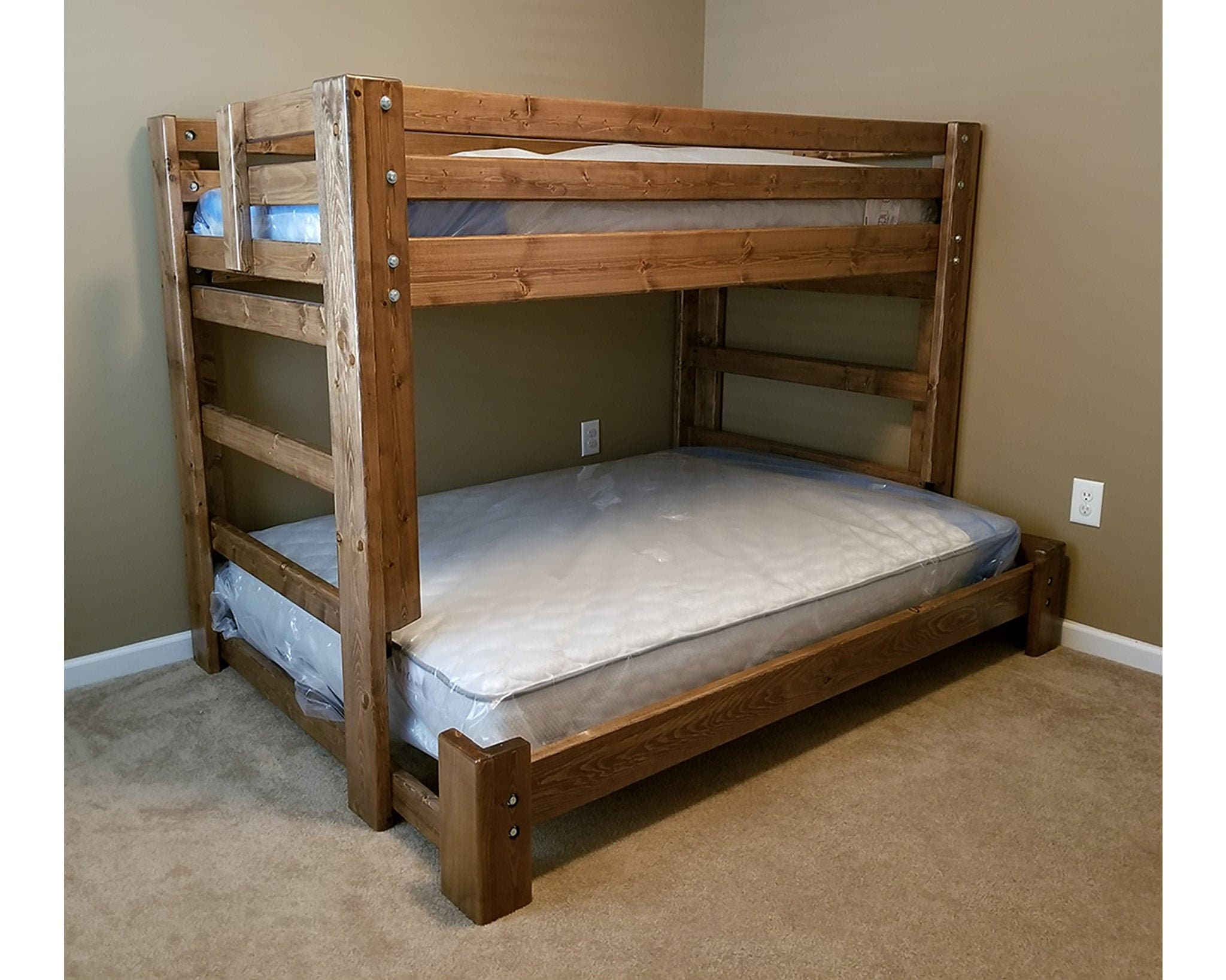 Twin Over Full Bunk Bed - Unique Bedroom Bunk Bed Set Solid Wood Furniture