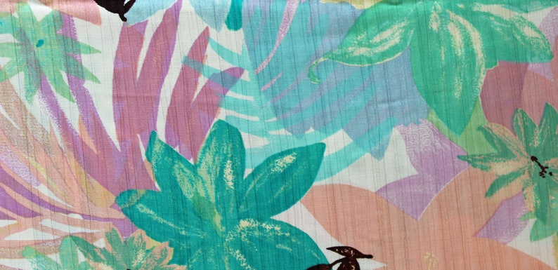 2 Yds Pastel Flowers Plisse Pleated Tropical Slinky Lightweight Polyester Peach Teal Turquoise Mauve on White Background 60 Wide