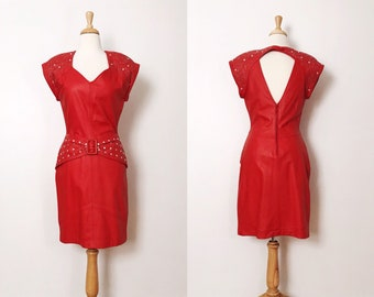a0ddfda6cd3 1980s   80s Vintage Red Hot Leather Beaded Party Dress by Shalmay   Small   Cocktail  Dress