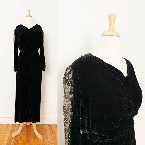 1930s / 30s Vintage Black Velvet Beaded Evening Go