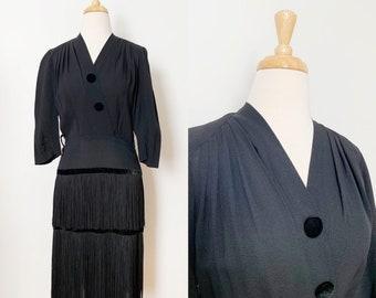 1940s / 40s Vintage Black Fringe Rayon Crepe Dress / Small