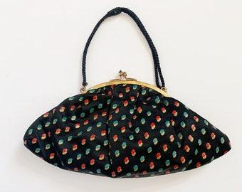 1930s / 30s Vintage Black Silk Hand-painted Dot Purse / Handbag / Evening bag