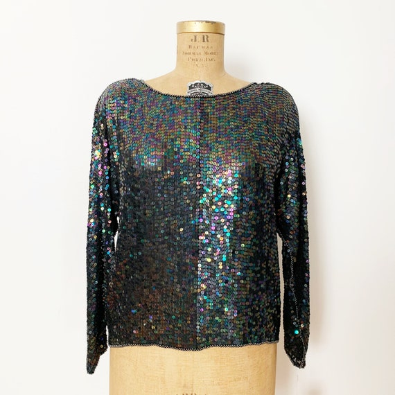 Vintage 1980/'s Beaded and Sequin Silk Tunic Top One Size