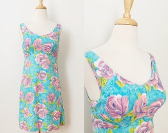 1960s / 60s Vintage Rose Print Sundress / Beach Dress / Small
