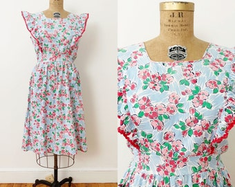 1940s / 40s Vintage Floral Cotton Pinafore Dress / Large